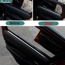 Tonlinker 4 Pcs DIY Car Styling New Stainless Steel The Door Windows Edge Sticker Cover Case for 2016 New Mitsubishi Outlander