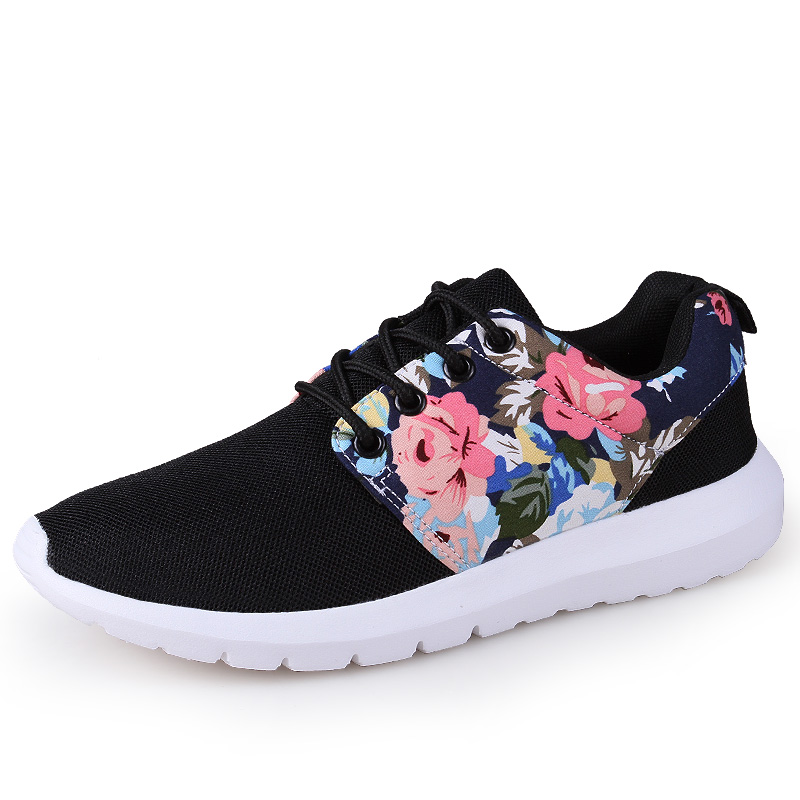 2019 New Style Floral Print Woman Sneakers Female Running Shoes Lightweight Lady Outdoor Sport Shoes Mesh Breathable Trainers