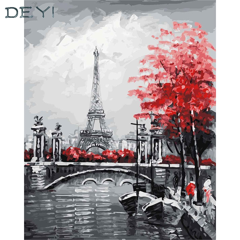 DEYI Paris Tower Modular Picture tiger Painting By Numbers on Canvas DIY coloring drawing by numbers on the wall 40*50cm