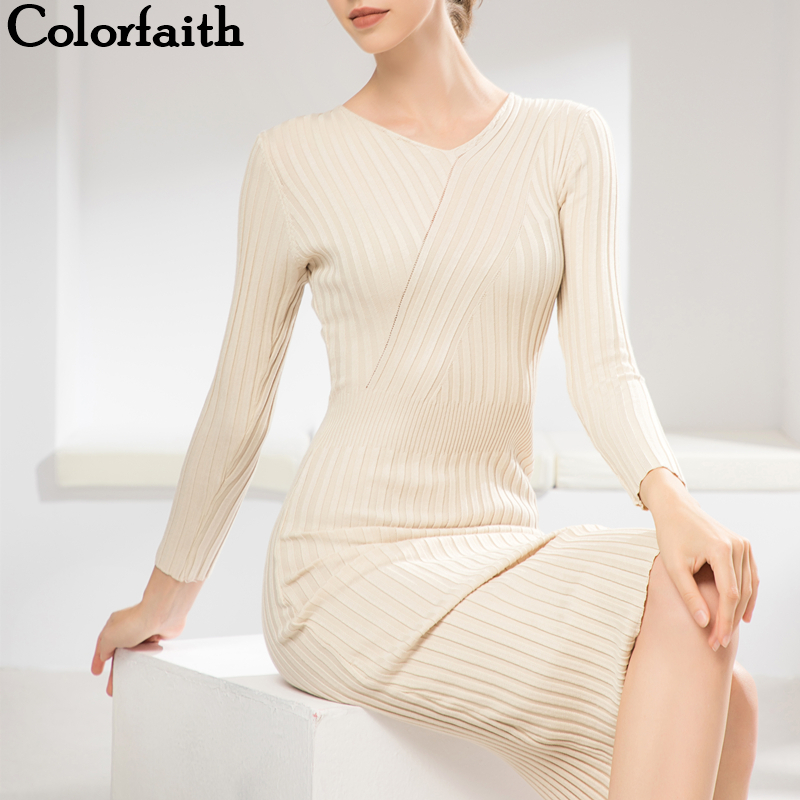 Colorfaith 2019 Трикотажное прямое платье миди с вырезами. Элегантное платье лапша с V вырезом. Мода зима осень DR4667 Платья      АлиЭкспресс