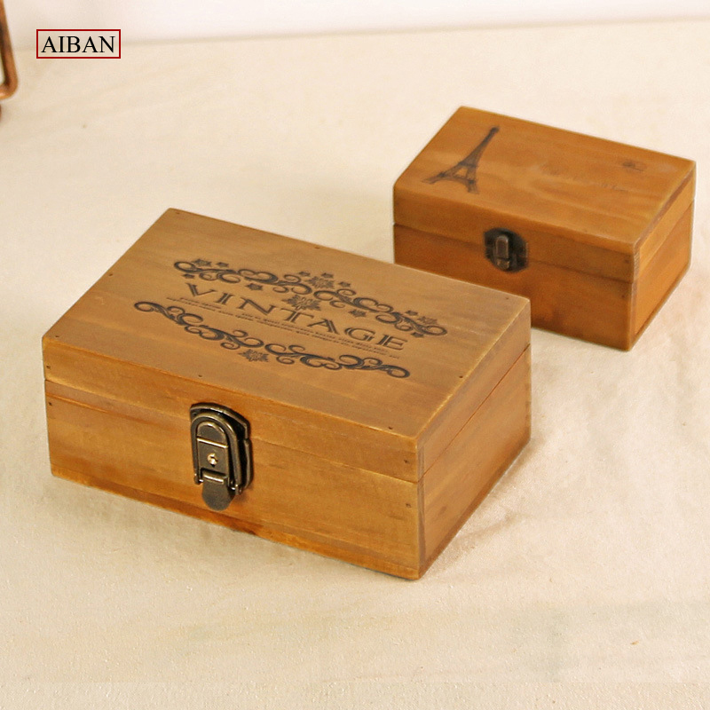 AIBAN Vintage Desktop Organizer Storage Box with Lock Wooden Comestic Makeup Jewelry Holder Case Home Decor Christmas Gift