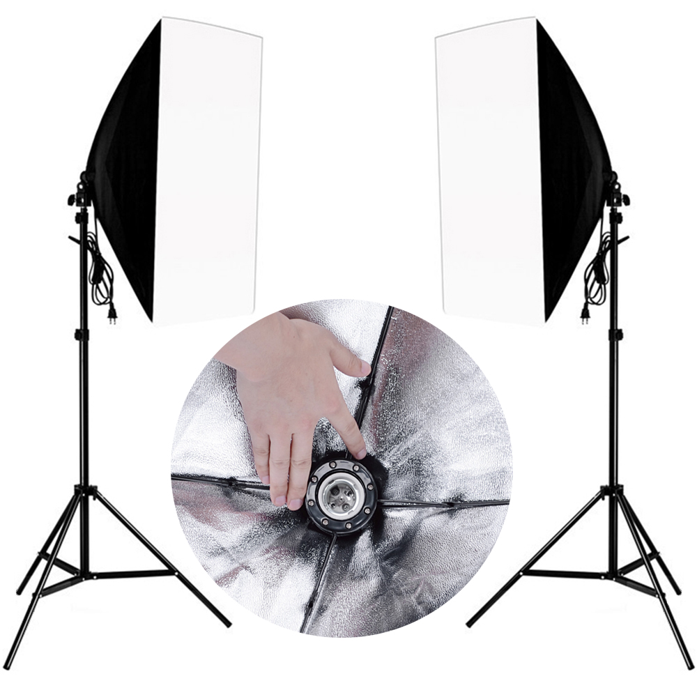 Professional Photo Studio Photography Lighting Kit Continuous Lighting Softbox Kit 2PCS Light stand 2PCS Wired Softbox