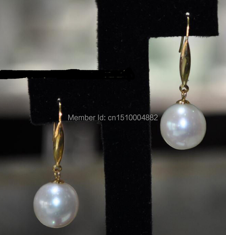 Free Shipping  0064 AAA 11.5mm round white Cultured pearl Earring   HookFree Shipping  0064 AAA 11.5mm round white Cultured pearl Earring   Hook