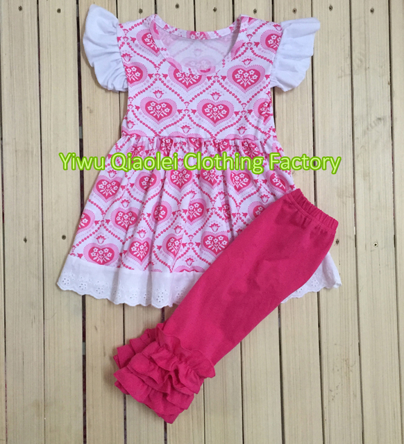 61b91579452b9 Wholesale heart kids clothing for girls beautiful dress with red pants  icing outfits baby girl clothes