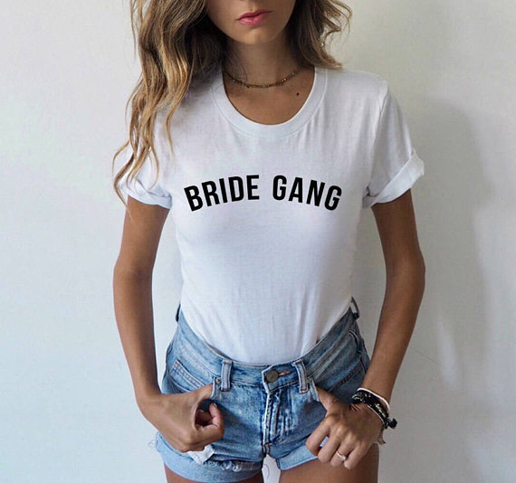 Bachelorette Party Shirt BRIDE GANG T-Shirt Tumblr Bridesmaid Gift Clothing Bride Squad Tee Bachelorette tshirt Girl Gang Outfit ...