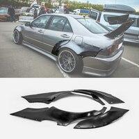 렉서스 98-05 IS200 Altezza XE10 EPA 스타일 유리 섬유 리어 펜더 4pcs + 65mm FRP 섬유 유리 휠 플레어 아치 커버 드리프트 키트