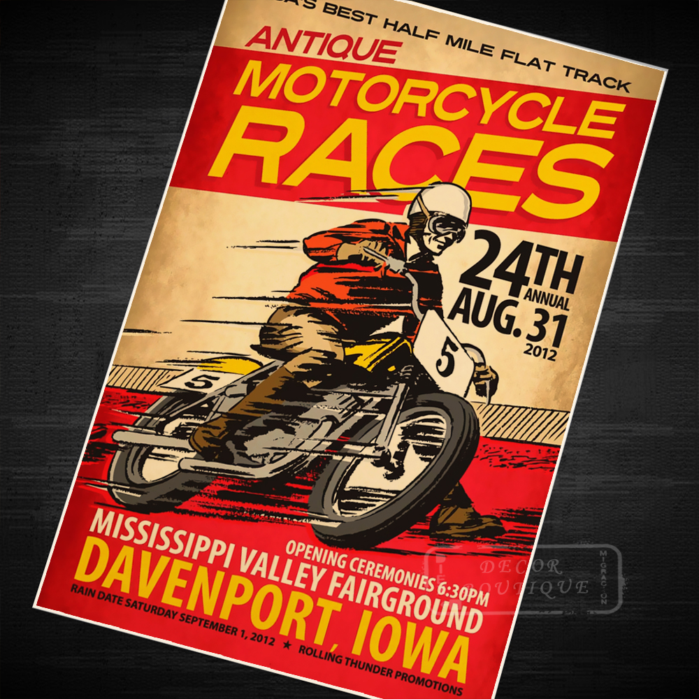 MOTORCYCLE RACES VINTAGE  WALL DECOR A3//A4 SIZE GIFT ART PRINT POSTER # 3