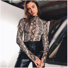 2019 NEW High Neck Long Sleeve Sexy Women Bodysuit Snake Print Women Fashion Cotton Sexy nightclub Body Bodycon Bodysuit(China)