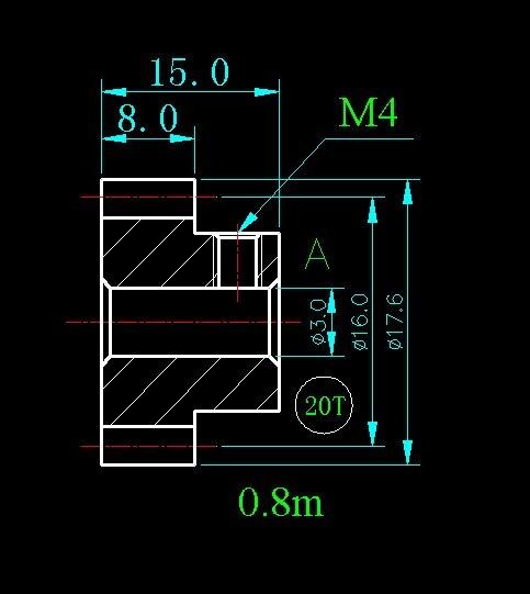 0.8m 20T/copper AL carbon 45 step gear/T gear/Hole 3mm 4mm 5mm 6mm 6.35mm 8mm/width 8mm/Long 15mm/For Meat Grinder Parts etc.
