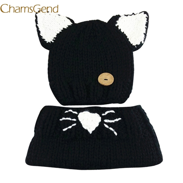 8067041b Chamsgend Newly Design Kids Winter Wool Knitted Cat Hats Baby Girls Black  Shawls Hooded Cowl Beanie Caps Oct30 Drop Shipping