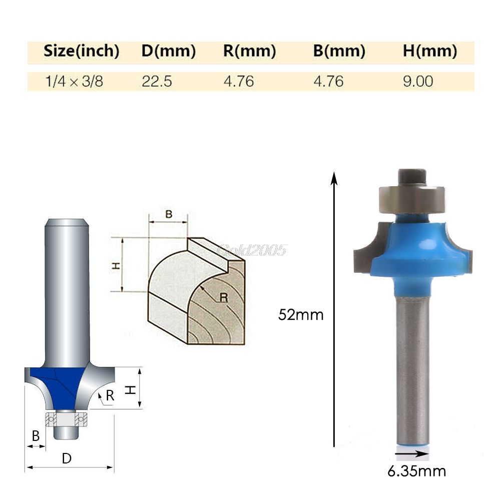 """1//4/"""" Shank 3//8/"""" Radius Round Over Router Bit Woodworking Chisel Cutter Tool"""