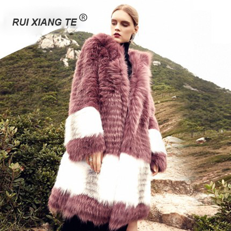 GRATIS VERZENDING RuiXiangTe vrouwen pure echte vos bontjas - Dameskleding