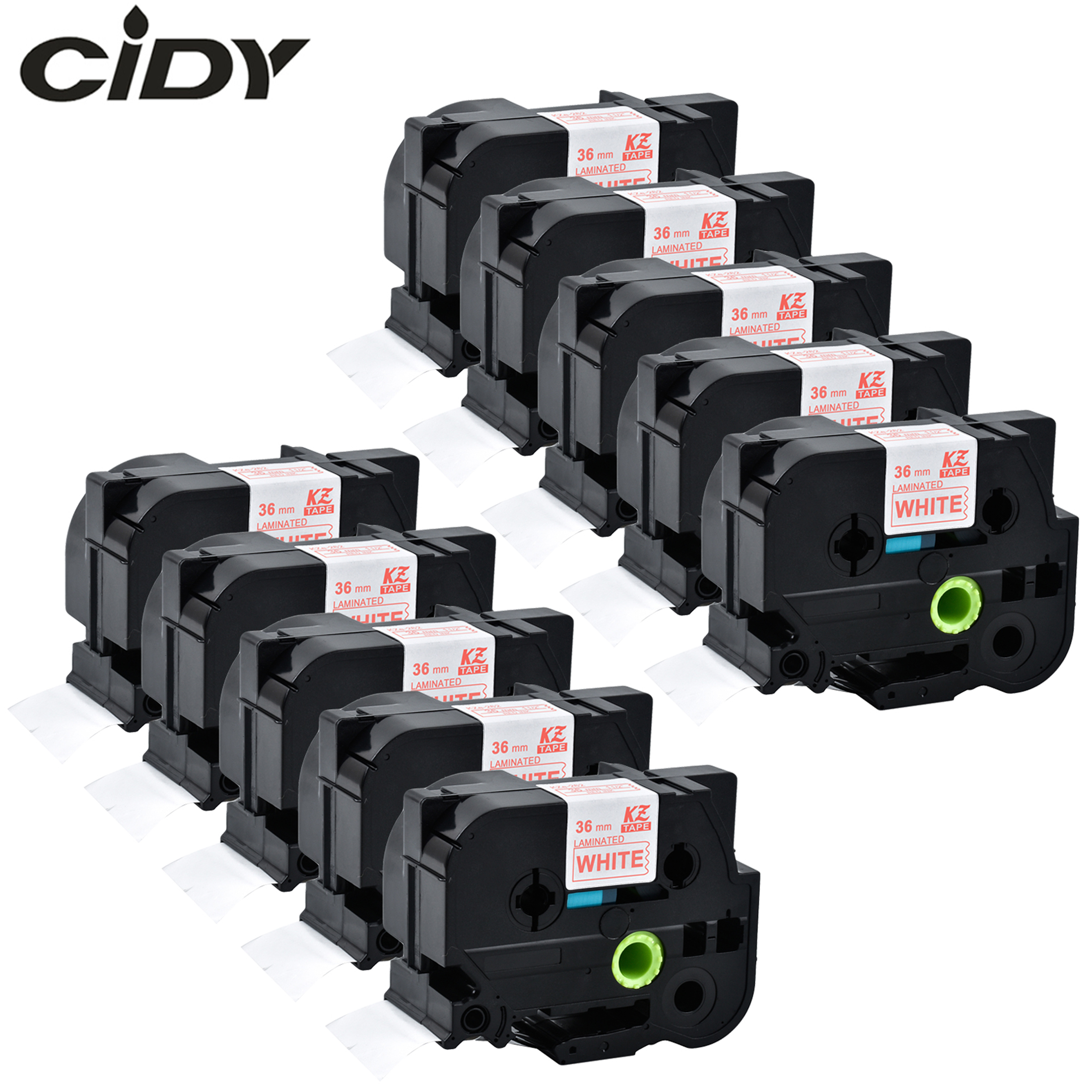 CIDY 10PCS compatible TZe 262 tz262 Tz 262 tze262 red on white label tape for brother label printer| | |  - title=