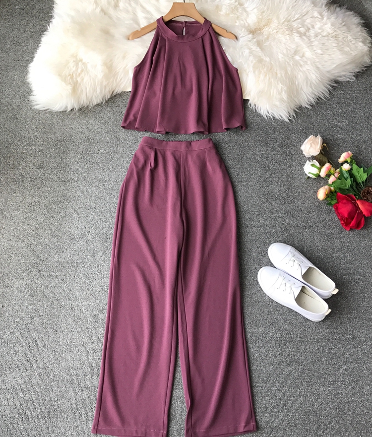 HTB1UUZpVrPpK1RjSZFFq6y5PpXaj - two piece set women fashion sexy short top and long pants casual sleeveless Elastic high waist female summer festival clothing