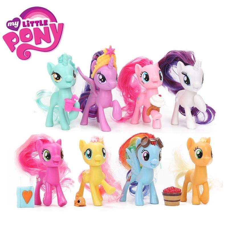8pcs My Little Pony Toys Twilight Sparkle Rainbow Dash Fluttershy Pinkie Pie Rarity PVC Action Figure Friendship is Magic Dolls футболка для беременных printio my little pony герб twilight sparkle искорка