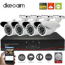 Deecam IP Camera 4 channels 4CH 4pcs CCTV System 1.0MP Outdoor IP66 Video Surveillance Security System 4ch HD Kit With 1T HDD