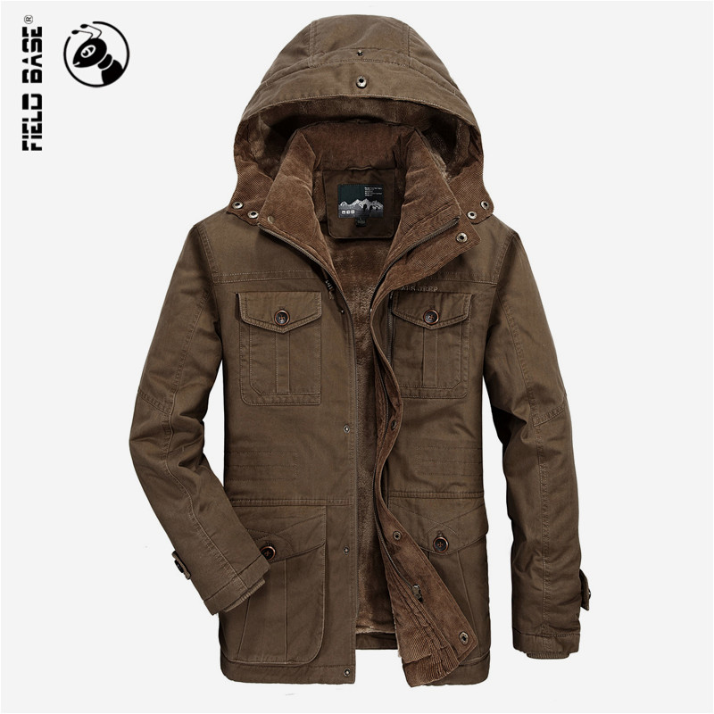 2017 Winter Jackets Men Thick Warm Hooded Windproof Parka Men Coat 100 Cotton Military Jacket Brand