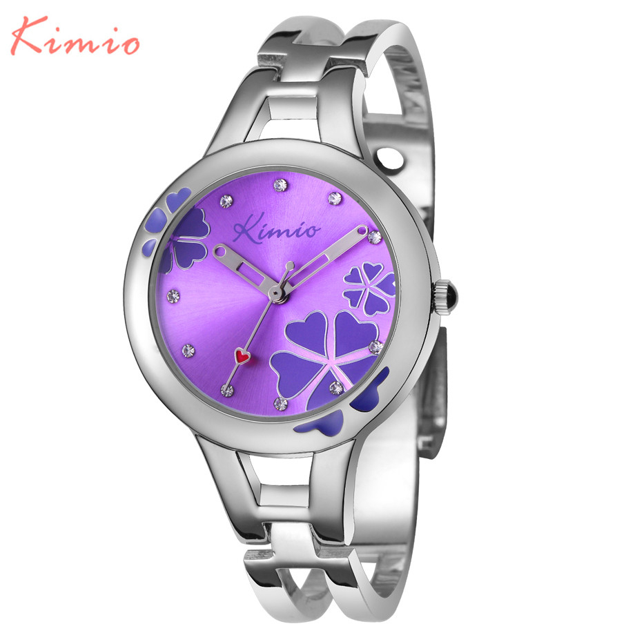 KIMIO women watch clover famous brand ladies fashion stainless steel bracelet quartz watch women Lucky wrist watches for women
