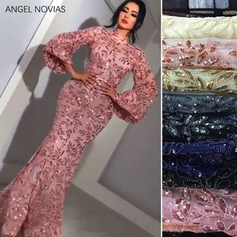 ANGEL NOVIAS Long Sleeves Arabic High Neck Lace Evening Dress 2020 Aibye Formal Wedding Party Gowns Abend Kleider 2019
