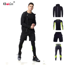Men's Gym Set Running 4pcs/Set sport Running T shirt + Running shorts+Jacket+Sport legging quick-drying SGT