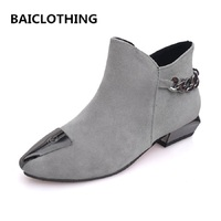 BAICLOTHING Women Autumn And Winter Casual Martin Boot Lady Cute Slip On Black Boot Female Soft