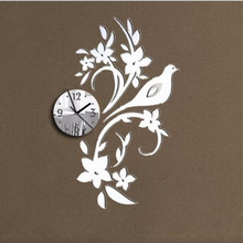 Modern 3D Acrylic Mirror Quartz Stickers Dove on Branch Wall Clocks