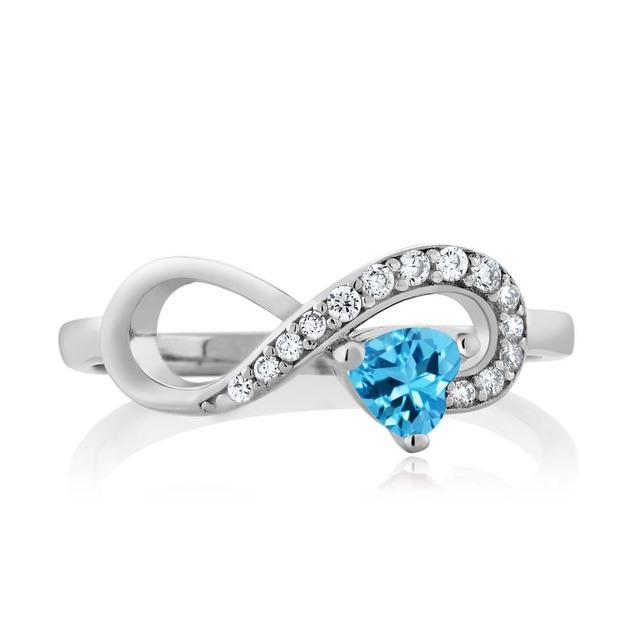GemStoneKing 0.44 Ct Heart Shape Natural Blue Topaz Infinity Ring Women's 925 Sterling Silver Ring Fine Jewelry
