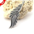 Compitable with European Style 925 Sterling Silver Jewelry for Women Feathers Pendant and Necklace Charms with Clear CZ FLN15011
