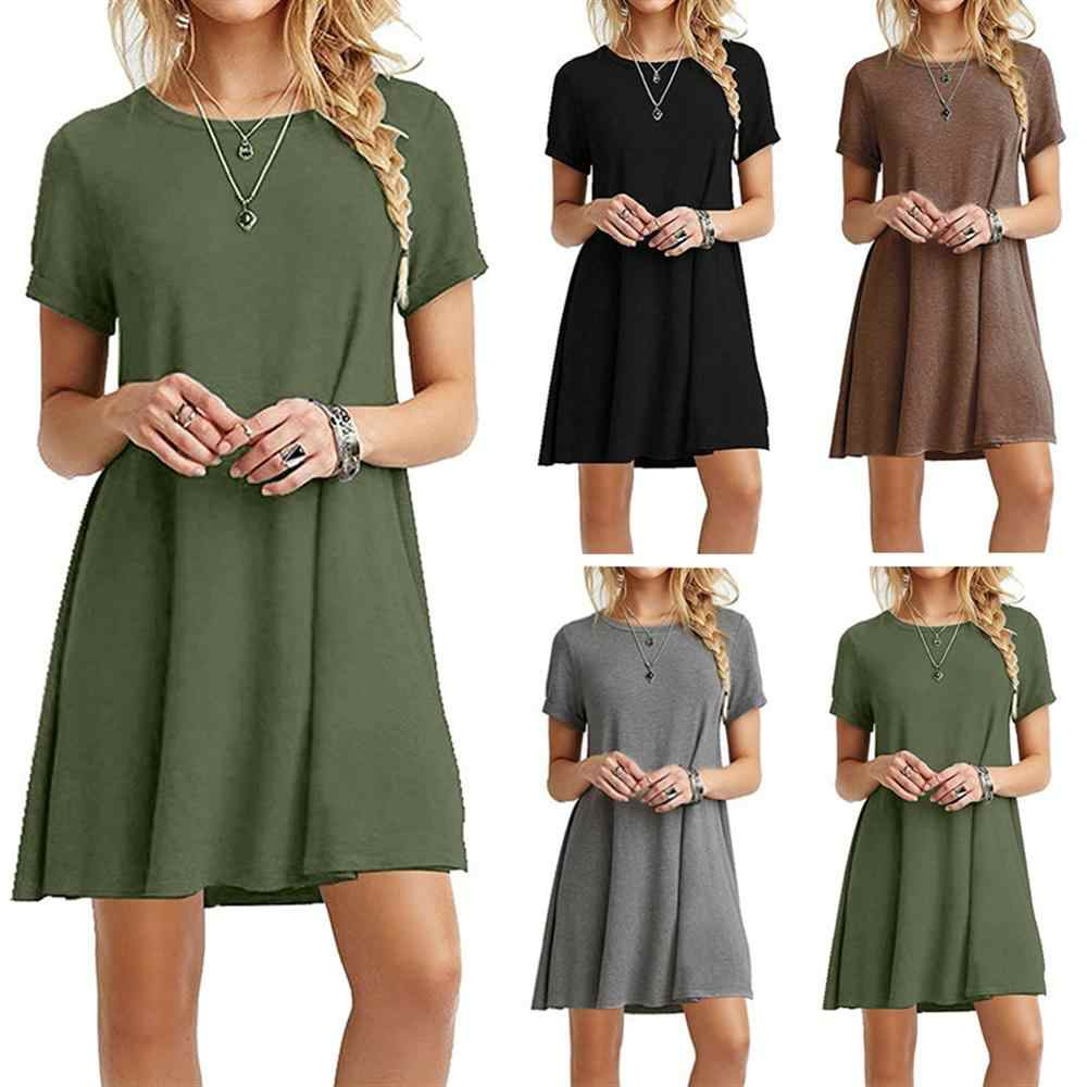 Hot Autumn Women's Long Sleeve Dress Large Size S-2XL Solid Color Dress Round Neck Short Sleeve Loose Slim Commuter Casual