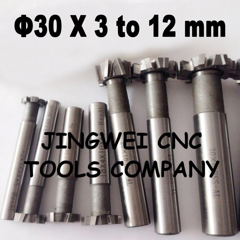 12mm Cutting Diameter 4mm Slot 6 Flute HSS T-Slot cutter shank End mill cutter