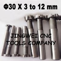 2pcs HSSAL T slot cutter 30mm*3mm,4mm,5mm,6mm,8mm,10mm,12mm hss T slot milling cutter, T cutter end mill free shipping