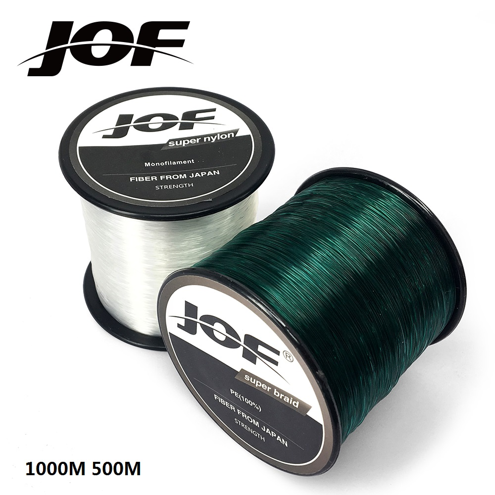 JOF Monofilament Nylon Fishing Line 1000M 500M Nylon Fishing Tackle 100% Superpower