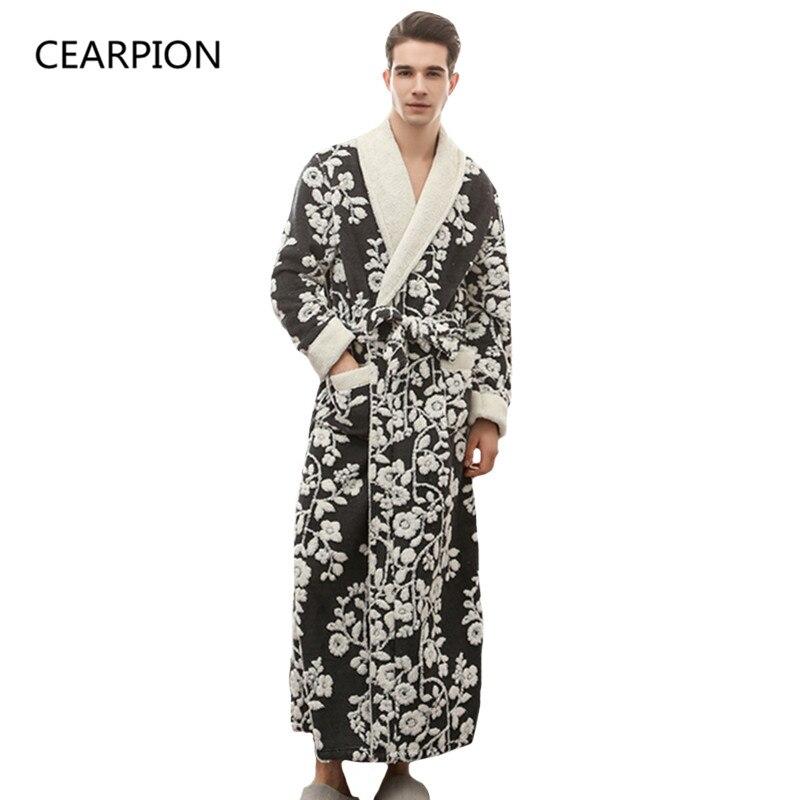 CEARPION High Quality Black Men Robe Winter Warm Long Limono Bathrobe Gown Jacquard Male Flannel Sleepwear Nightgown M XL 3XL