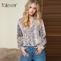 Women Snake Print Blouse Female Casual Loose Autumn Elegant Tops and Blouses Shirt 2018 Fashion Ladies Plus Size Tops Talever