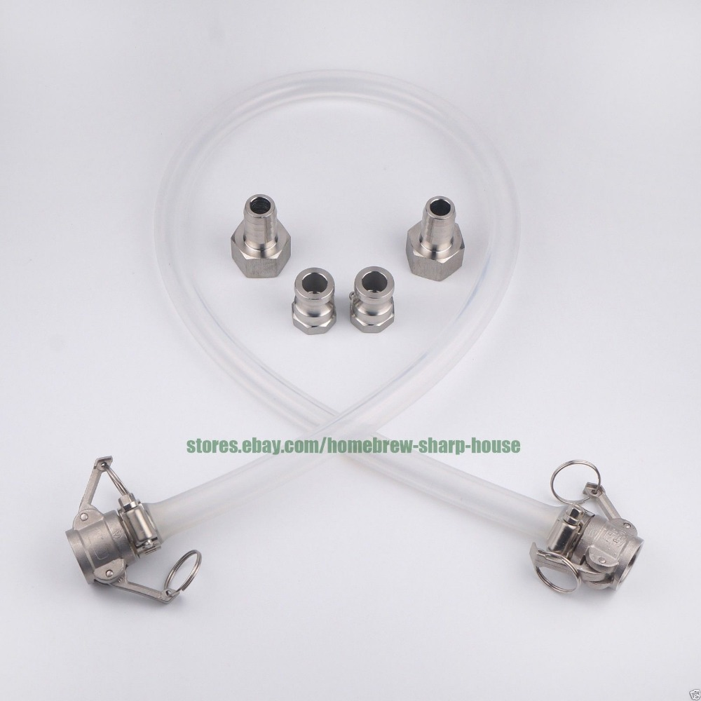 Plate Wort Chiller Stainless Steel 304 Connection Kit Homebrew Beer Pump Fitting