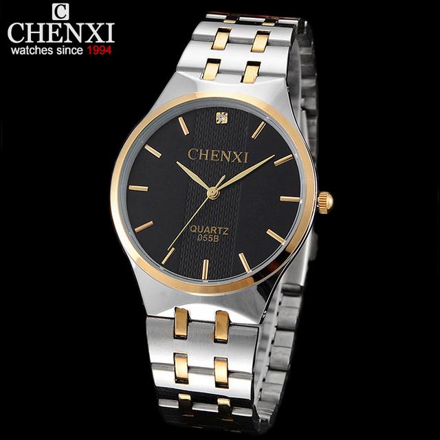 CHENX Mulheres Relógios Men Quartz Relógio de Luxo Da Marca homens de aço inoxidável de Ouro relógio de pulso Famoso Relógio homens relogio masculino
