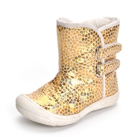 Winter Leopard Fashion Kids Snow Boots Pu Leather Gold Baby Shoes Toddler Boys Girls Rubber Bottom