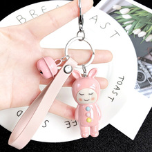 Women Key Chain  Mixed Colorful Japanese Kimono Girl Keychain Plastic Cartoon Doll Puppet Girls Keyring