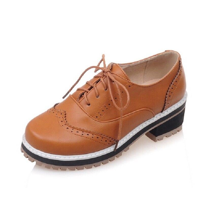 Talon L'école 5 Mujer 10 Up Chaussures grey Bureau Grande Casual Low Les Pour Oxford Femmes yellow Black De beige Confortable Lace Dames Synthétique Zapatos Plat Taille EO11wqv