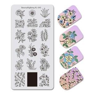 Image 2 - Beautybigbangスタンピングプレート草美しい花葉パターンステンレス鋼イルネイルアートスタンピングプレートXL 040