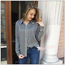 EQ 100% silk 19momme rolloff five-pointed star print Ladies long sleeve blouses women silk shirt spring autumn kate moss