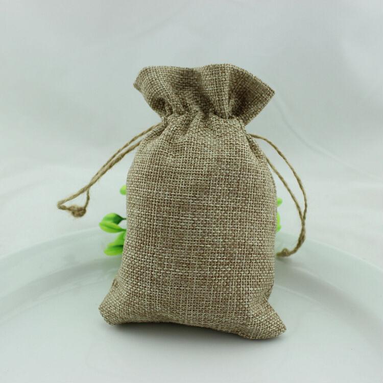 50pcs lot 10 15cm jute wedding gift bags vintage burlap for Burlap sack decor