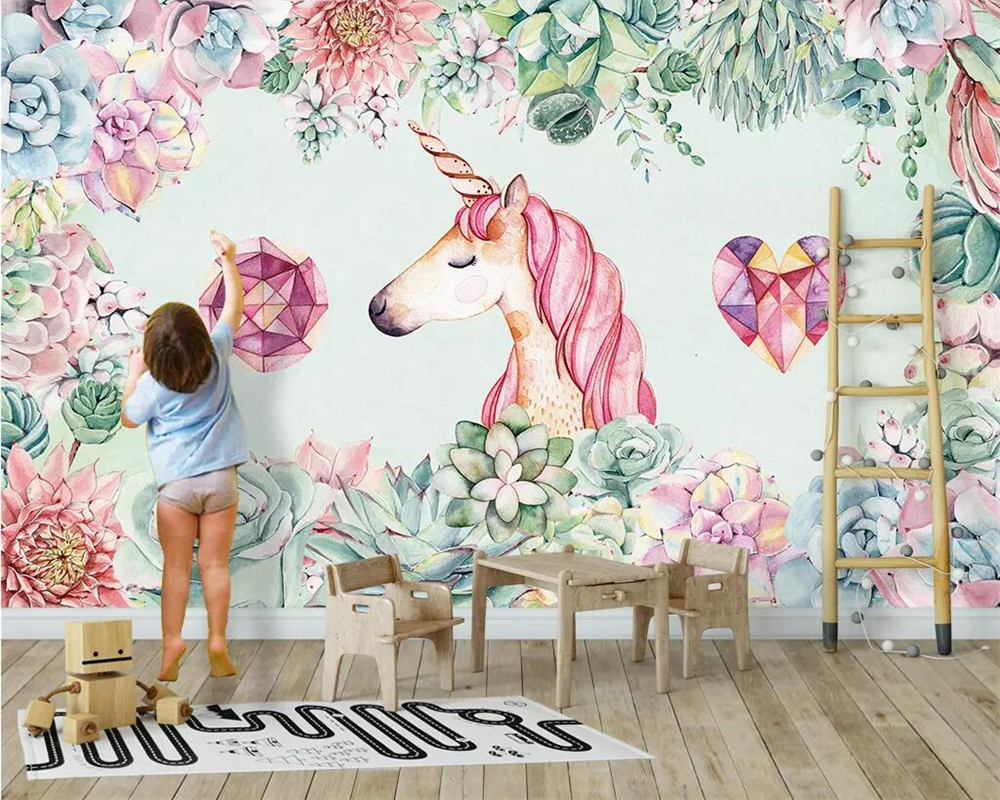 beibehang 3d papel de parede Custom wallpaper succulent unicorn children 39 s room background wall decoration mural 3d wallpaper in Wallpapers from Home Improvement