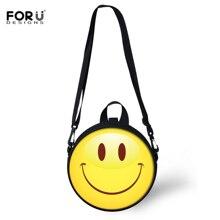 FORUDESIGNS Funny Emoji Women Circle Bags Smile Face Round Shoulder For Teenager Girls Boys Fashion Crossbody Sac A Main