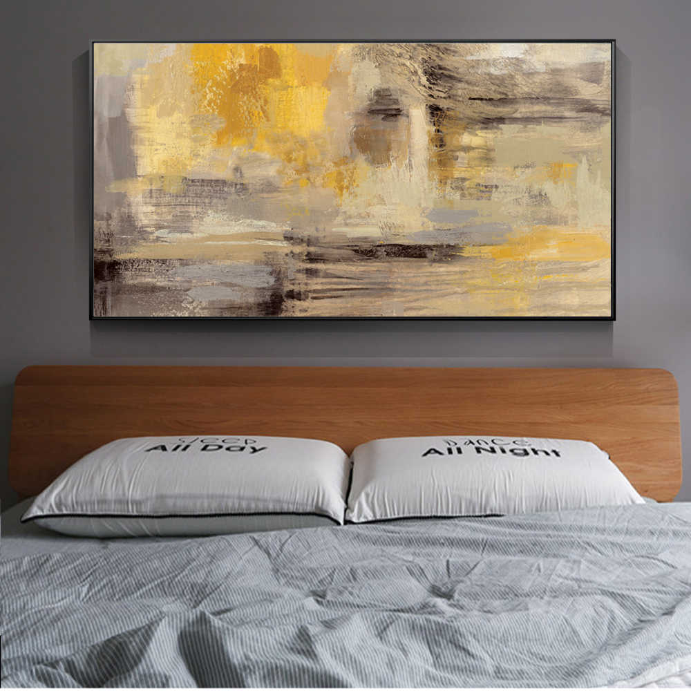 Stupendous Abstract Wall Art Canvas Prints Yellow Color Wall Graffiti Art Paintings On The Wall Modern Wall Posters For Bed Room Cuadros Home Interior And Landscaping Staixmapetitesourisinfo