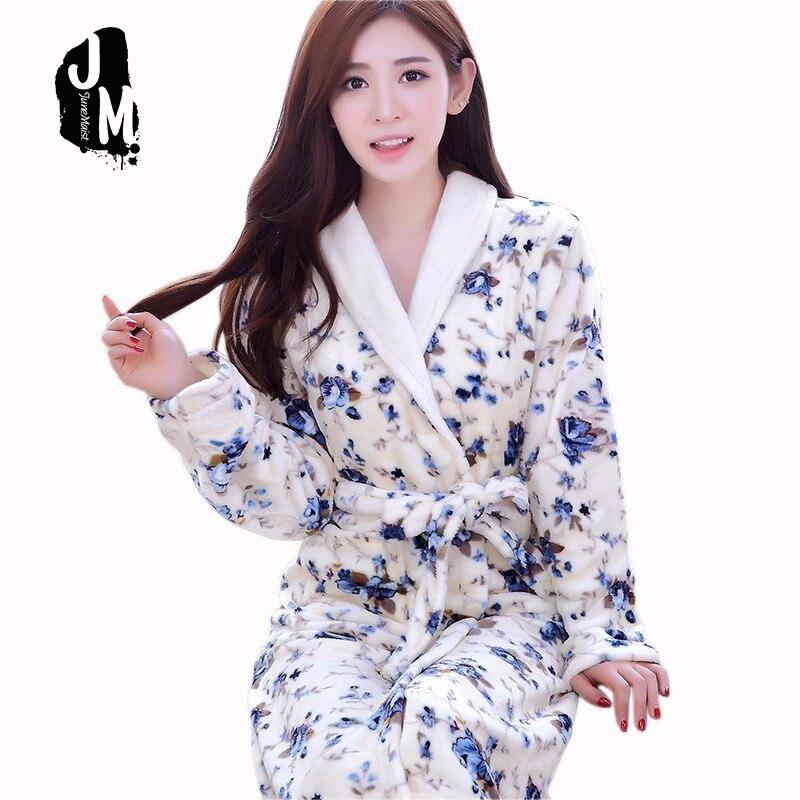Robe Bathrobe Female Pajamas winter knee lenght warm Toweled bathrobes cotton robe women autumn thick soft