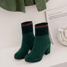 Botas para mujer de talla grande 9 10 15, botines de mujer, botas de colores combinados con cabeza redonda gruesa y manga