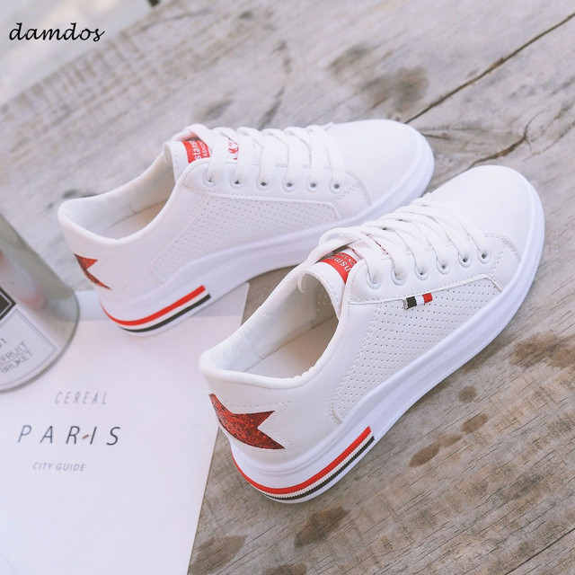newest 3a481 0ea7d 2018 Women White Sneakers Sports Shoes Girls Skateboarding Skateboard Shoes  PU Leather Lace-up Breathable Student White Shoes