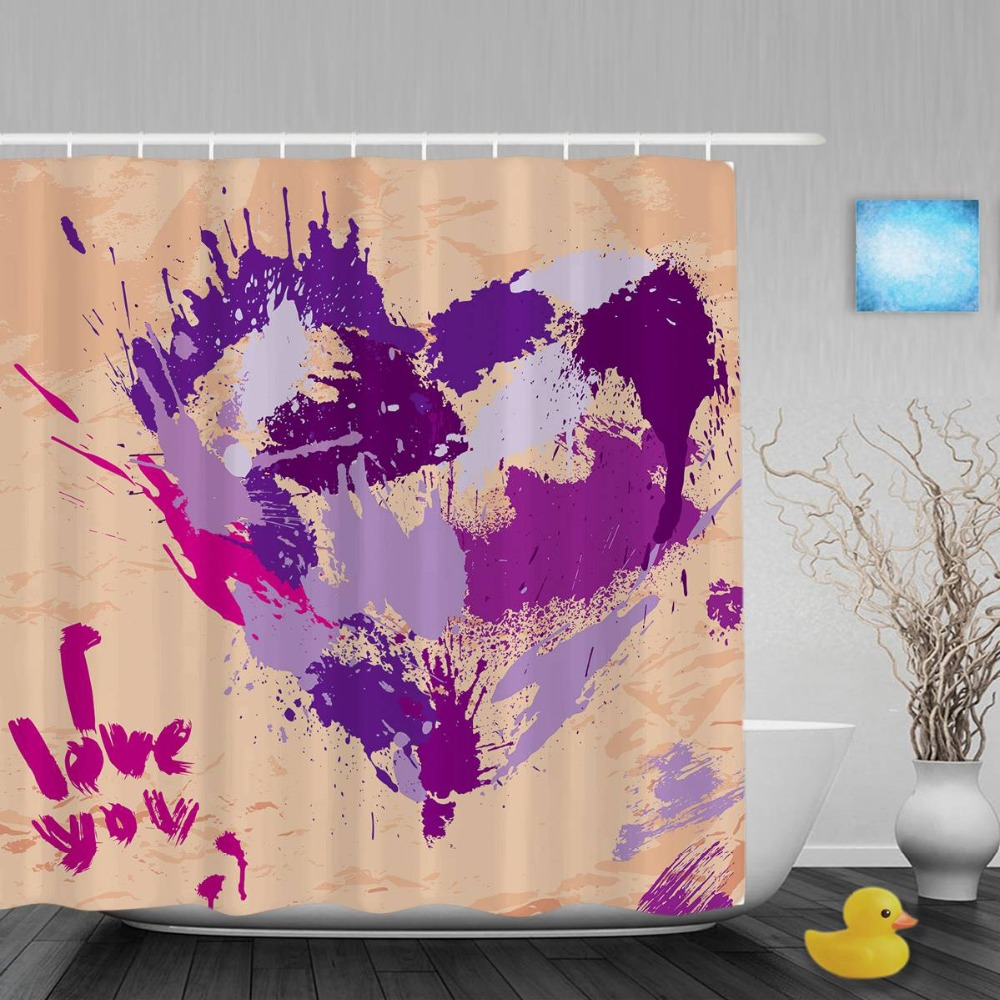 Heart Decor Wedding Bathroom Curtains Handwritten I Love You Valentine's Shower Curtain Waterproof Polyester Fabric With Hook