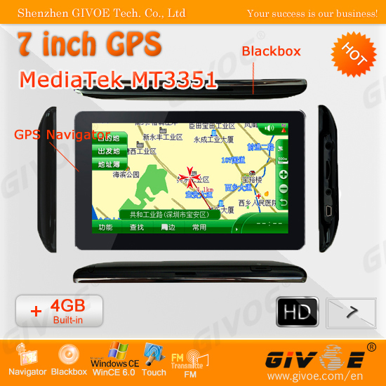 HD Touch Screen 7 inch GPS supports 3D Maps + 4GB Nand Flash + MediaTek MT3351 480MHz CPU #1947